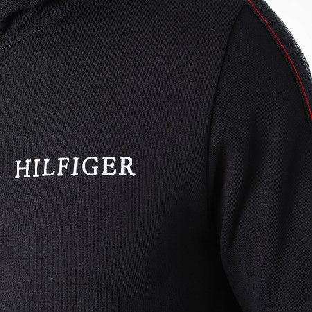 Tommy Hilfiger - Sweat Zippé Capuche A Bandes Taped Hilfiger 8723 Bleu Marine