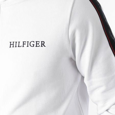 Tommy Hilfiger - Sweat Zippé Capuche A Bandes Taped Hilfiger 8723 Blanc