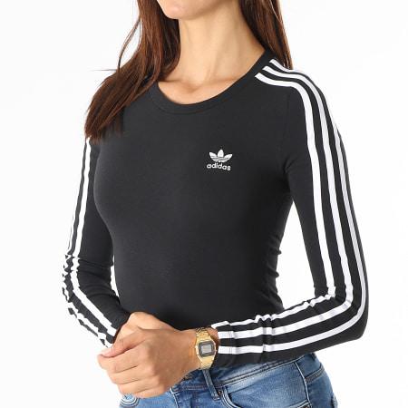 adidas - Body Femme Manches Longues A Bandes H35621 Noir