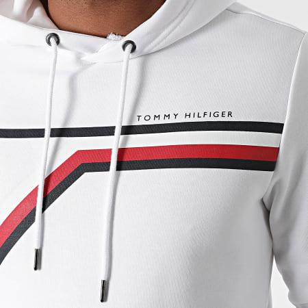 Tommy Hilfiger - Sweat Capuche Split Corp Stripe 1115 Blanc