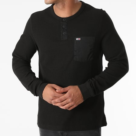 Tommy Jeans - Tee Shirt Poche Manches Longues Waffle Pocket 1062 Noir