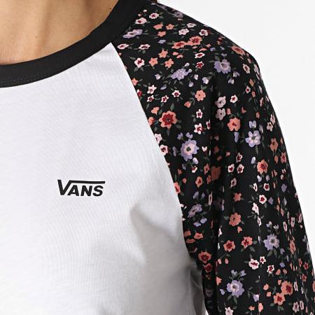 Vans - Tee Shirt Manches Longues Femme Raglan Bed Of Roses A5I8L Blanc Noir Floral