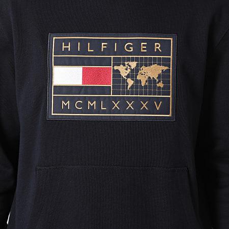 Tommy Hilfiger - Sweat Capuche Icon Earth Badge 8719 Bleu Marine Doré