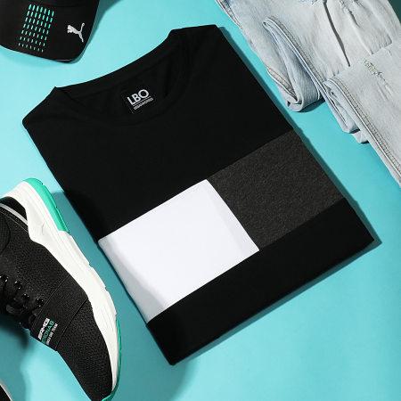 LBO - Tee Shirt Manches Longues Empiècement Bicolore 1802 Noir Gris Anthracite