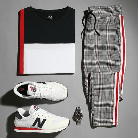 LBO - Tee Shirt Manches Longues Tricolore 1819 Blanc Bleu Marine Rouge