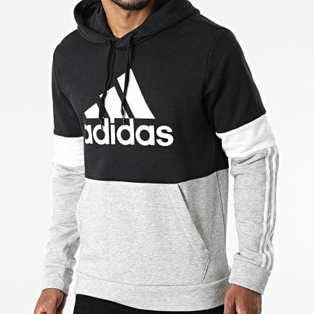 adidas - Sweat Capuche A Bandes CB H14646 Gris Chiné Noir