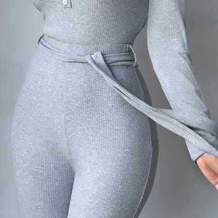 Club L London - Body Manches Longues Femme There For You Gris Chiné
