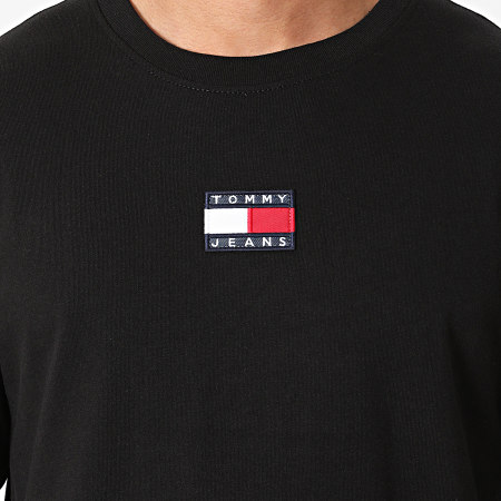Tommy Jeans - Tee Shirt Manches Longues Tommy Badge 0932 Noir