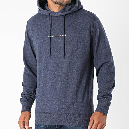 Tommy Jeans - Sweat Capuche Straight Logo 1818 Bleu Marine Chiné