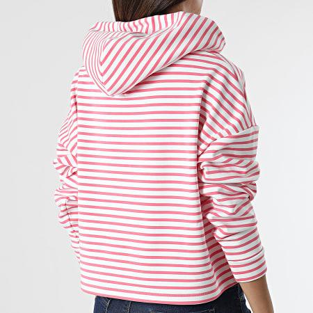 Tommy Jeans - Sweat Capuche Crop Femme Multistripe 9264 Rose Blanc