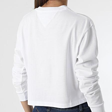 Tommy Jeans - Tee Shirt Manches Longues Crop Femme Homespun Heart 10358 Blanc