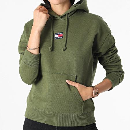 Tommy Jeans - Sweat Capuche Femme Center Badge 0403 Vert Kaki