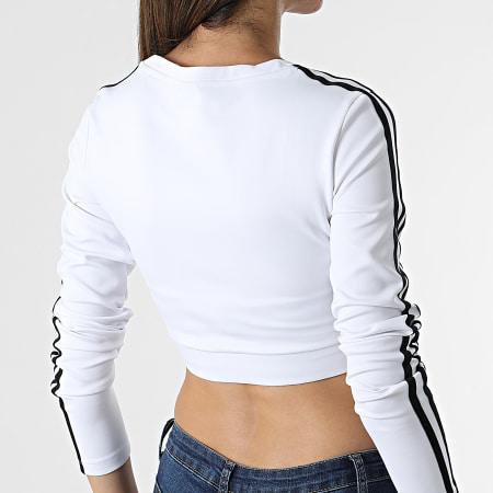 adidas - Tee Shirt Manches Longues Crop Femme A Bandes H37769 Blanc