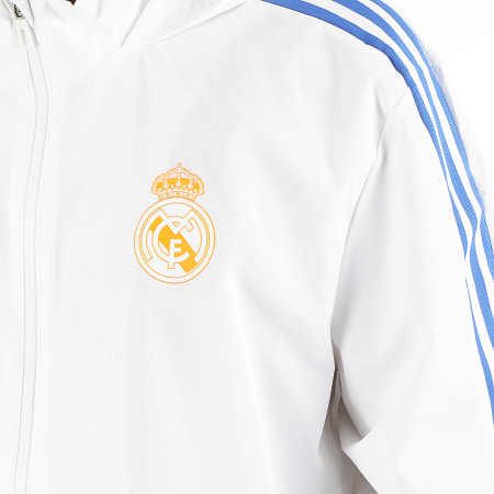 adidas - Veste Zippée Capuche A Bandes Real Madrid GR4338 Ecru