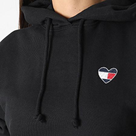 Tommy Jeans - Sweat Capuche Femme Homespun Heart 10395 Noir