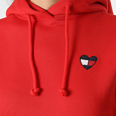 Tommy Jeans - Sweat Capuche Femme Homespun Heart 10395 Rouge
