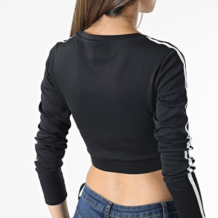adidas - Tee Shirt Manches Longues Crop Femme A Bandes H37765 Noir