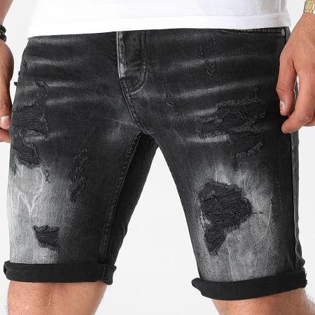 Black Industry - Short Jean 4001 Gris Anthracite