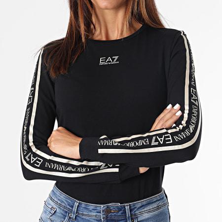 EA7 Emporio Armani - Tee Shirt Manches Longues Femme A Bandes 6KTT19-TJCRZ Noir Doré