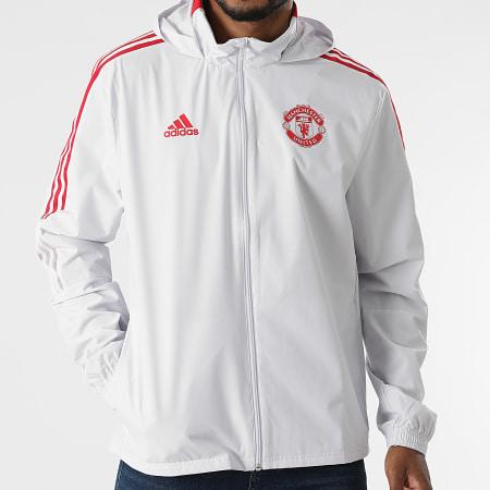 adidas - Veste Zippée Capuche A Bandes Manchester United GR3808 Gris Clair