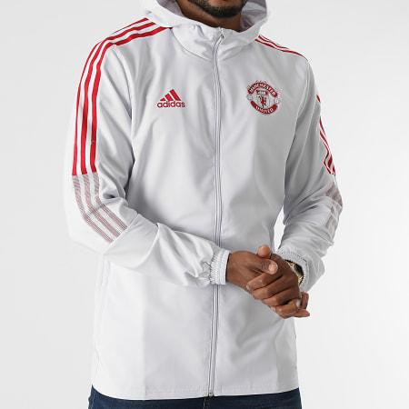 adidas - Veste Zippée Capuche A Bandes Manchester United GV1570 Gris Clair