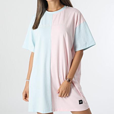 Sixth June - Robe Tee Shirt Femme W33035KDR Bleu Clair Rose
