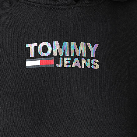 Tommy Jeans - Sweat Capuche Femme Slim Metal Corp Logo 9247 Noir Irisé