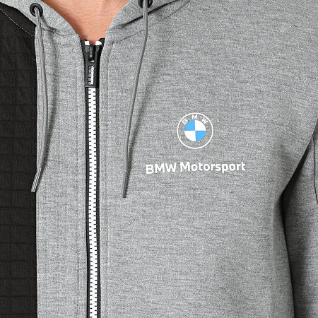Puma - Sweat Zippé Capuche BMW Motorsport 531187 Gris Chiné Noir