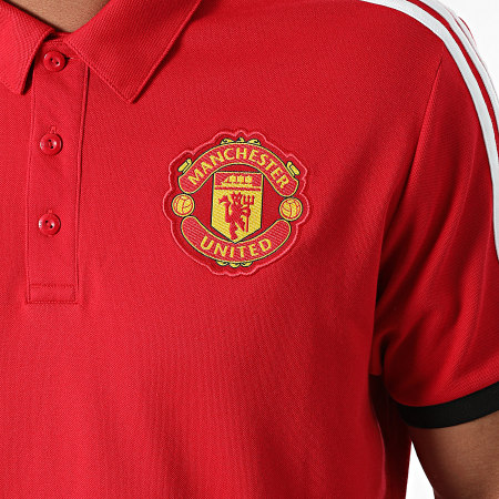 adidas - Polo Manches Courtes A Bandes Manchester United GR3898 Rouge