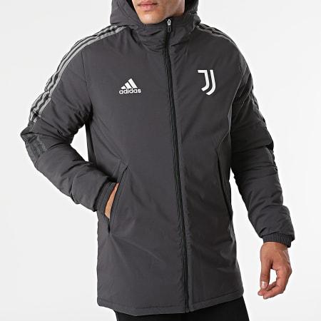 adidas - Veste Zippée Capuche A Bandes Juventus GR2977 Gris Anthracite