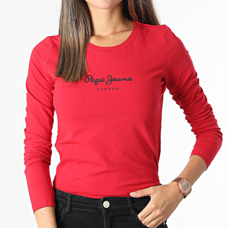 Pepe Jeans - Tee Shirt Manches Longues Femme New Virginia Rouge