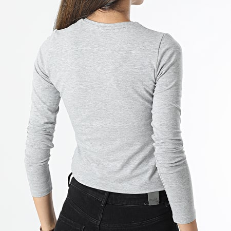 Pepe Jeans - Tee Shirt Manches Longues Femme New Virginia Gris Chiné
