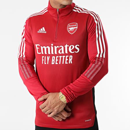 adidas - Sweat Col Zippé A Bandes Arsenal FC GR4168 Rouge Foncé
