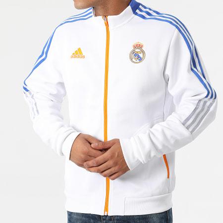 adidas - Veste Zippée A Bandes Real Madrid Anthem GR4270 Ecru