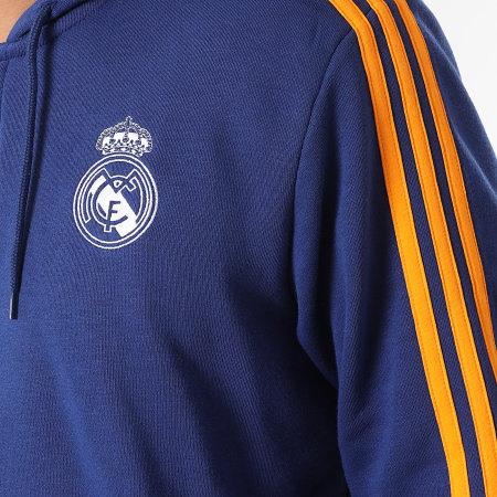 adidas - Sweat Zippé Capuche A Bandes Real Madrid 3 Stripes GR4241 Bleu Marine