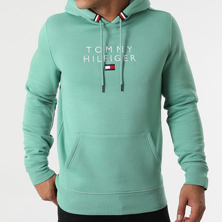 Tommy Hilfiger - Sweat Capuche Stacked Tommy Flag 7397 Vert