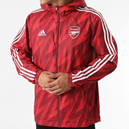 adidas - Coupe-Vent A Capuche A Bandes Arsenal FC GR4196 Rouge