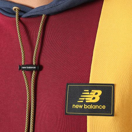 New Balance - Sweat Capuche MT13504 Bordeaux Bleu Marine Jaune