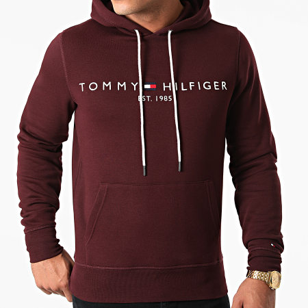 Tommy Hilfiger - Sweat Capuche Tommy Logo 1599 Bordeaux