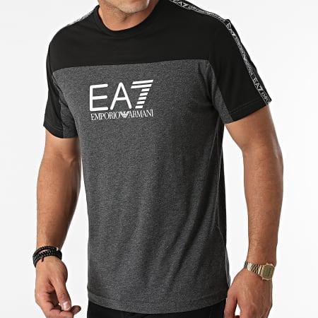 EA7 Emporio Armani - Tee Shirt A Bandes 6KPT10-PJ7CZ Gris Anthracite Chiné Noir