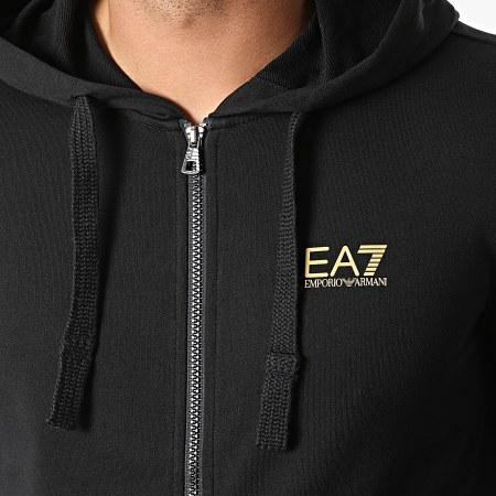 EA7 Emporio Armani - Sweat Zippé Capuche 8NPM03-PJ05Z Noir Doré