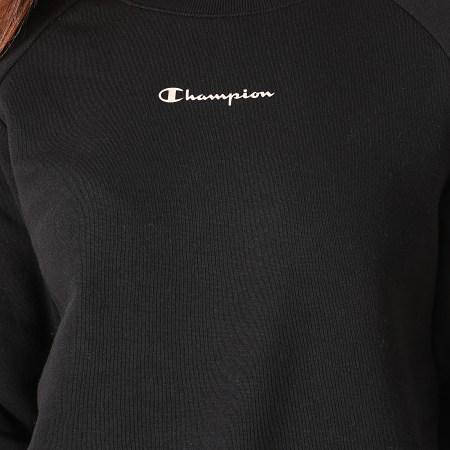 Champion - Sweat Crewneck Femme A Bandes 114717 Noir Rose