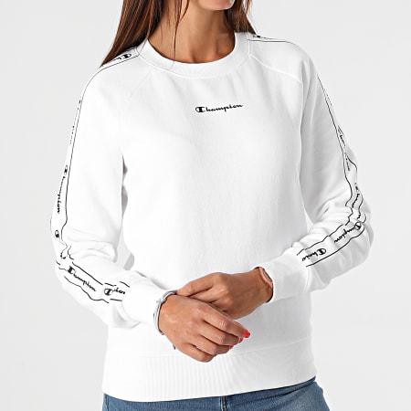 Champion - Sweat Crewneck Femme A Bandes 114717 Blanc