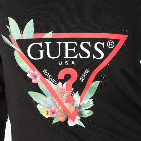 Guess - Tee Shirt Manches Longues Femme W1YI97-JA911 Noir