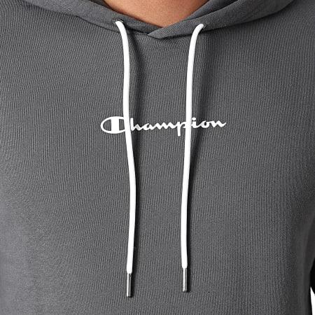 Champion - Sweat Capuche A Bandes 216559 Gris Anthracite