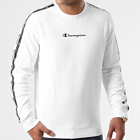 Champion - Sweat Crewneck A Bandes 216560 Blanc