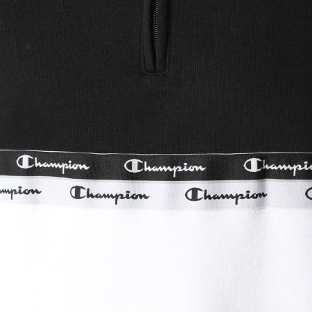 Champion - Sweat Col Zippé 216565 Blanc Noir