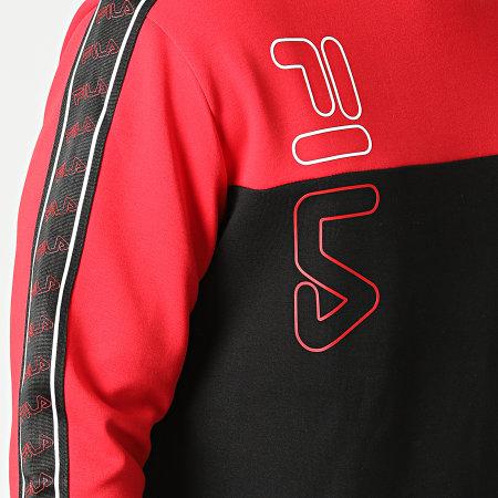 Fila - Sweat Crewneck A Bandes Odo 683482 Noir Rouge