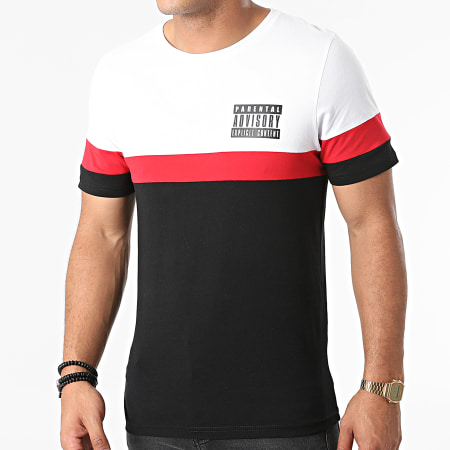 Parental Advisory - Tee Shirt Logo Tricolore Noir Blanc Rouge