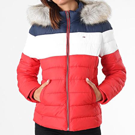 Tommy Jeans - Doudoune Capuche Fourrure Femme Tricolore 9065 Rouge Blanc Bleu Marine